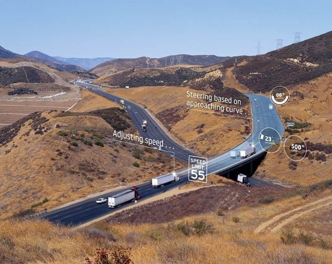 Trucks fitted with Daimler's Predictive Powertrain Controls use TomTom's ADAS Map and Bosch's electronic horizon to automate driving functions on highways.  - Photo: TomTom