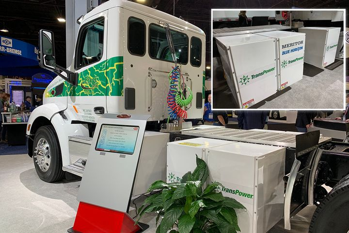 The TransPower/Blue Horizon technology was showcased on this Peterbilt electric truck at the North American Commercial Vehicle Show last fall.