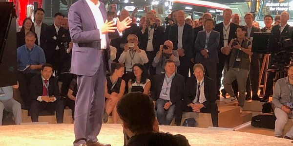 Traton CEO Andreas Renschler speaks to the media during the 2018 IAA Show in Hannover, Germany,...