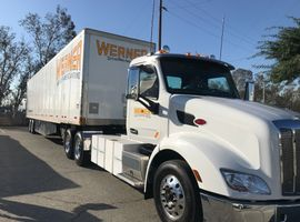 The Class 8 electric truck being piloted by Werner is powered by TransPower and Blue Horizon...