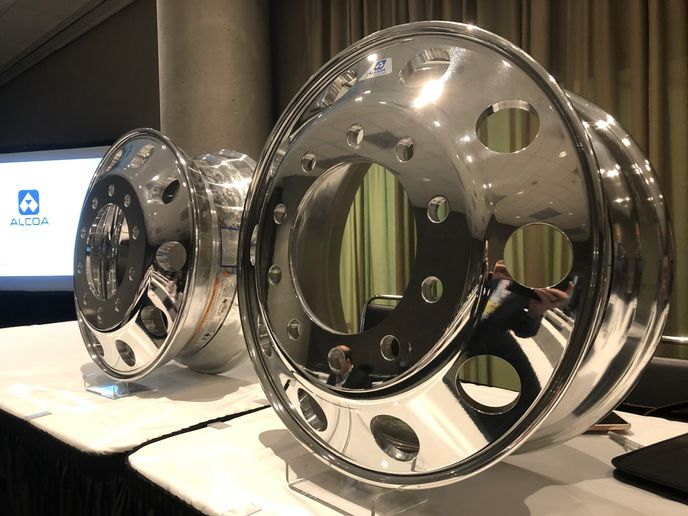 Alcoa Wheels is updating its product portfolio with the Ultra One 22.5 x 8.25-inch wheel, which weighs in at 39 pound -- a full pound lighter than the model it will replace. - Photo: John G. Smith