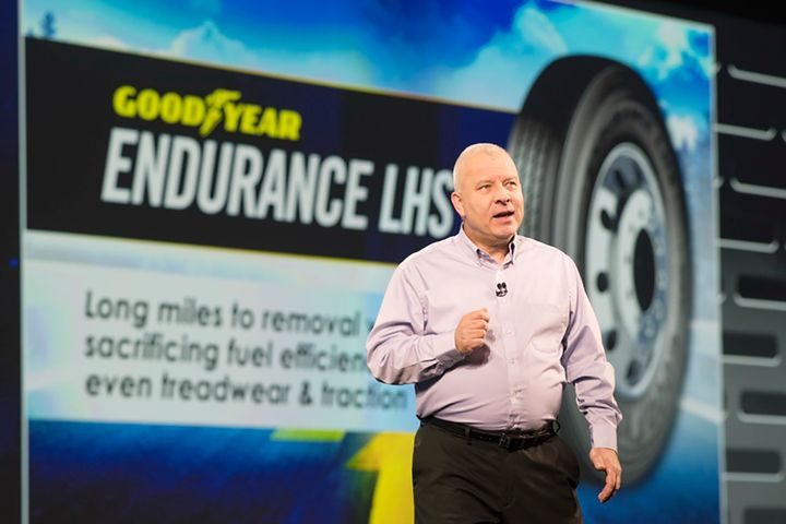 """""""We need to make sure we are investing in regional and urban products to help fleets optimize their cost per mile,"""" said Cary Budsinski, senior director of Goodyear's North America Commercial Sales.  - Photo: Jim Park"""