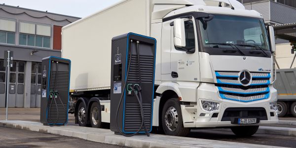 "New ""charging park"" for electric trucks at Daimler Trucks' headquarters in Stuttgart, Germany."