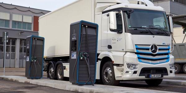 "New ""charging park"" for electric trucks at Daimler Trucks' headquarters in Stuttgart, Germany."