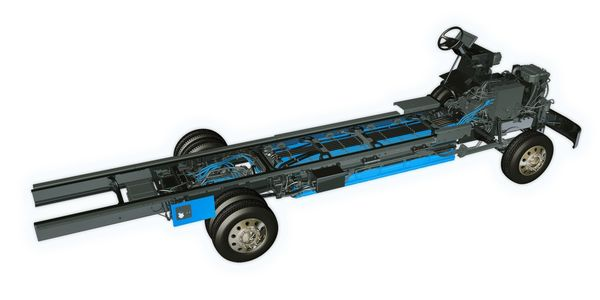 A production-ready FCCC MT50e chassis with Proterra electric-drive battery system.