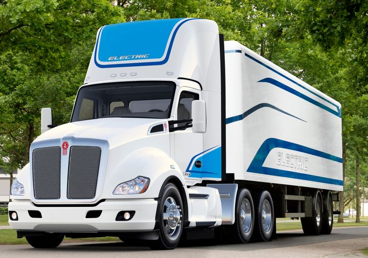 Kenworth's T680E Class 8 electric tractor is reported to be a short-hood day cab in tractor with an operating range between 100 to 150 miles, depending on application. - Photo: Kenworth