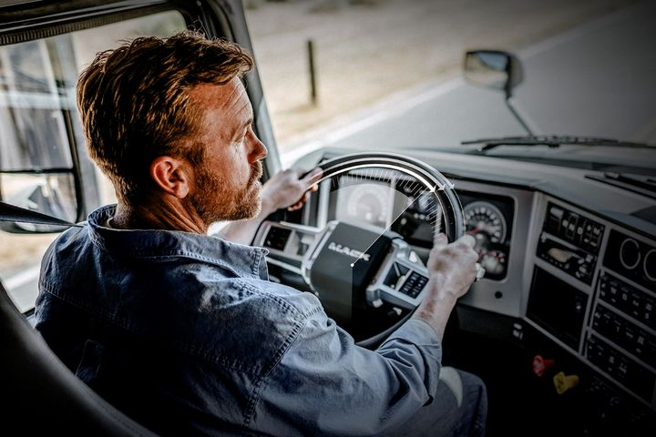 The advanced active steering system adds an electric motor to the existing hydraulic steering system, reducing driver effort by up to 85%, according to Mack. - Image: Mack Trucks