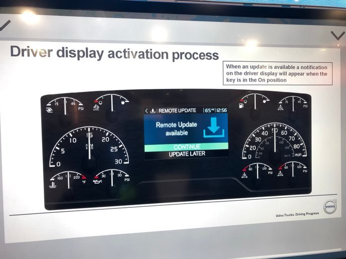 Volvo and Mack Over The Air Updates now allow drivers to begin powertrain software updates at times that fit their driving and rest schedules. Photo: Jack Roberts -