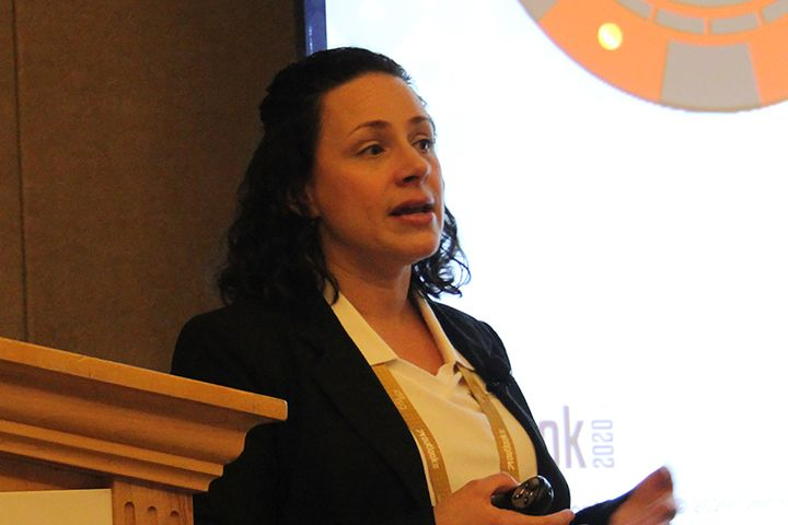 Laura Lohrke, Omnitracs lead product manager, discusses features of the Omnitracs Drive application during the company's Outlook 2020 User Conference. - Photo: Jim Beach