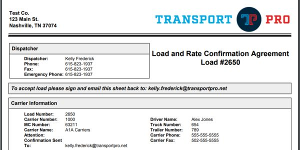 Transport Pro's new e-signature tool allows carriers to sign a rate confirmation from a...