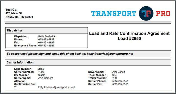 Transport Pro's new e-signature tool allows carriers to sign a rate confirmation from a computer, phone, or tablet and get it back to the broker within seconds. - Screenshot: Transport Pro
