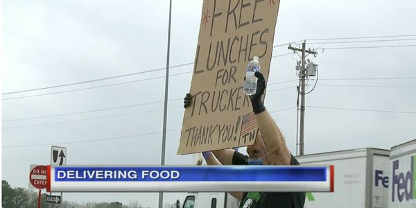 A group of volunteers handed out sandwiches to truckers in Tennessee.
