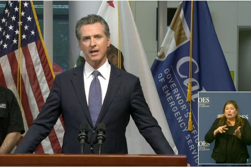 California Gov. Gavin Newsom issues a stay-at-home order March 19.