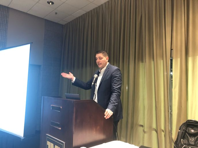 Ross Froat, director of engineering and information technology for ATA, speaks about TMC and FMCSA's new Tech-Celerate safety technology education campaign at the 2020 TMC Annual Meeting in Atlanta, Georgia. - Photo: Jack Roberts