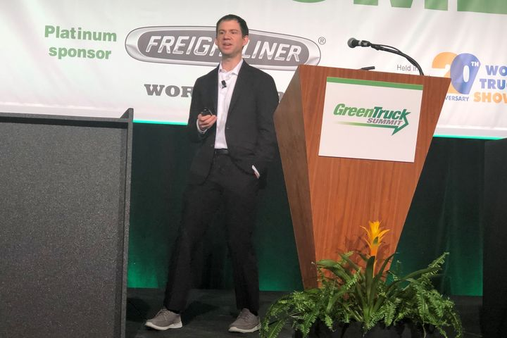 DTNA's Sean Waters discussing what it will take to sell truck fleets on electric trucks. - Photo: David Cullen