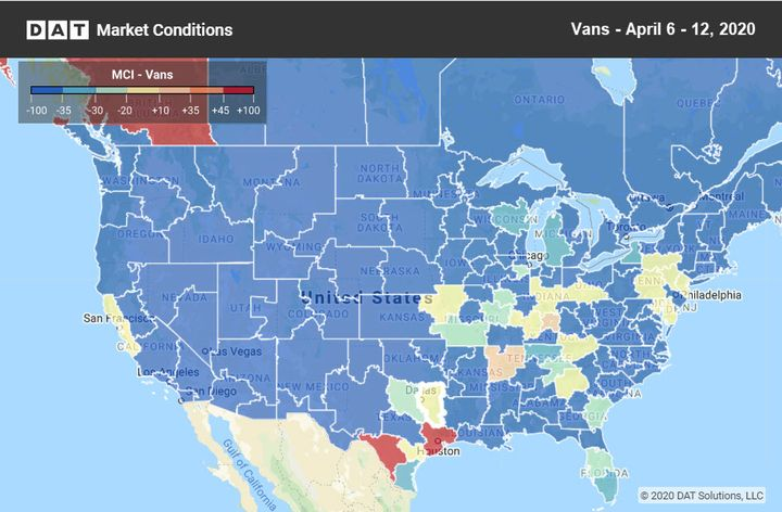 "According to DAT, the only ""hot spot"" for spot freight is in south Texas.