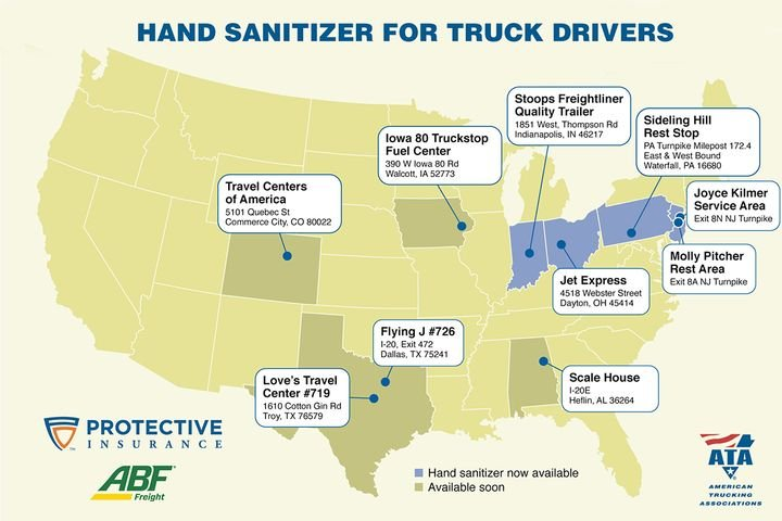 The ATA and Protective Insurance will be providing free hand sanitizer refills at the above locations. - Image: ATA