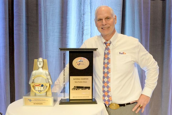 FedEx Freight driver Scott Woodrome took home his second consecutive win as theBendix Grand Champion of the 2019 National Truck Driving Championships. - Photo: ATA