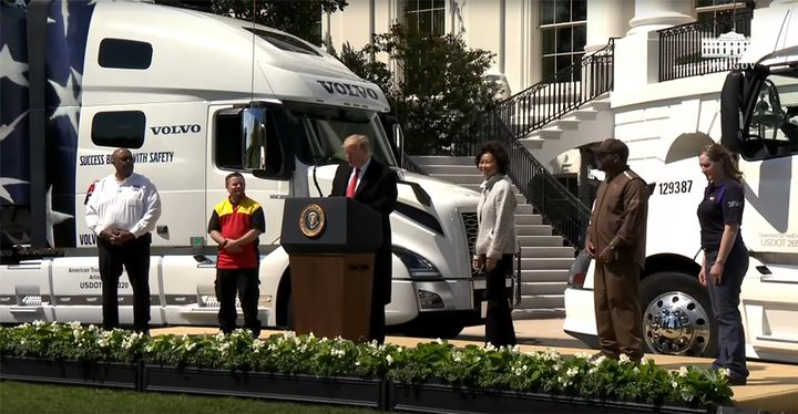 President Trump and Transportation Secretary  Chao honored drivers from four company's at a White House event celebrating the trucking industry. - Photo: screenshot via White House YouTube channel