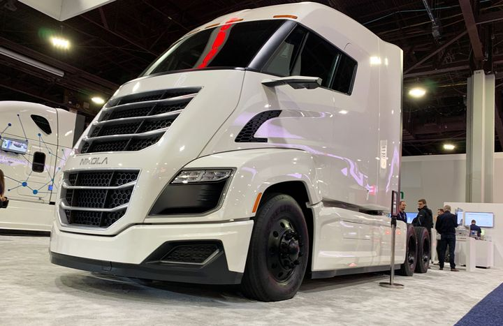 Nikola truck on display at the North American Commercial Vehicle Show in 2019.