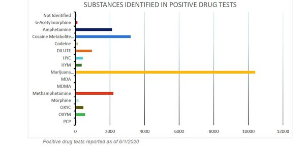 Marijuana far outpaced other types of drugs detected by tests reported to the clearinghouse.