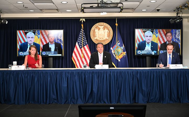 New York Governor Andrew M. Cuomo, joined via video conference with New Jersey Governor Phil Murphy and Connecticut Governor Ned Lamont,  announced a joint incoming travel advisory that all individuals traveling from states with significant community spread of COVID-19 quarantine for a 14-day period from the time of last contact within the identified state. - Photo: Office of New York State Governor Andrew M. Cuomo