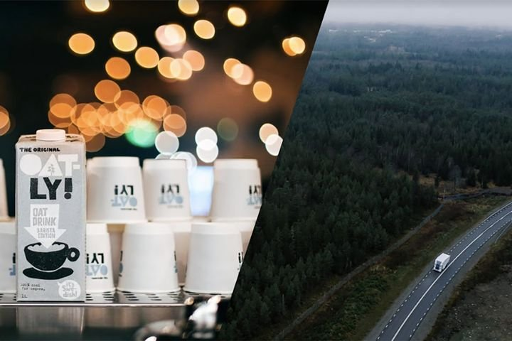 Oatly will soon move its product throughout Sweden with electric trucks from Einride. - Image: Einride