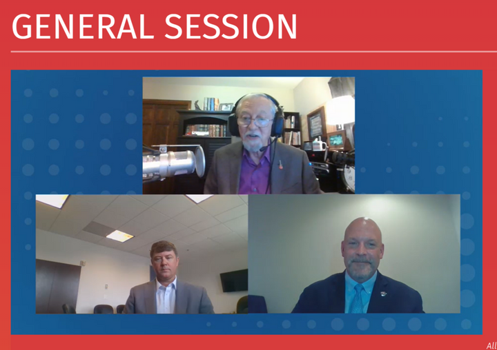 FMCSA's Jim Mullen (lower left) joined the Truckload Carriers Association's Dave Heller (lower right) during an online presentation on a wide range of regulatory issues.