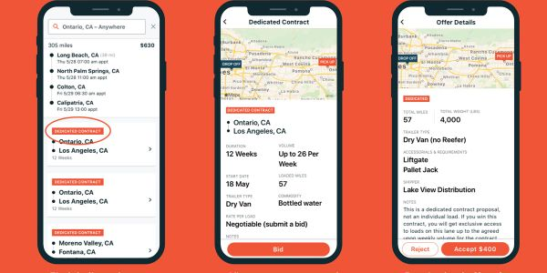 Small carriers can now bid on dedicated freight in the Convoy app.