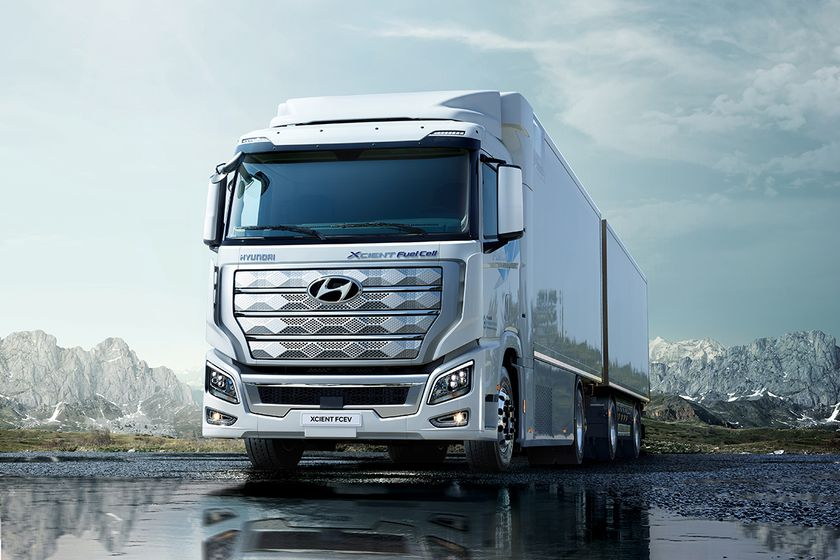 Hyundai's Xcient Fuel Cell truck promises a range of approximately 250 miles.