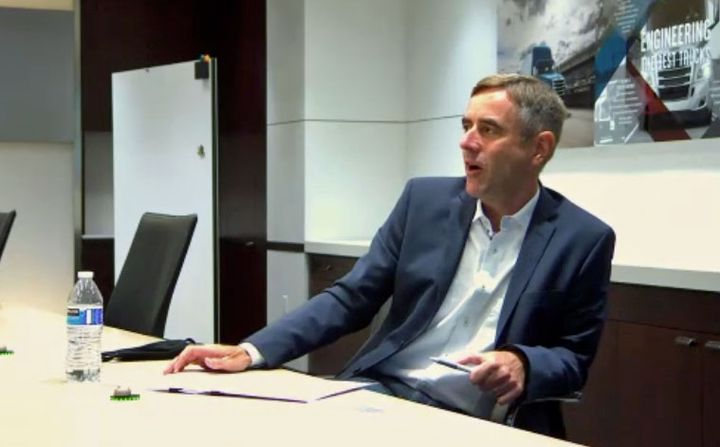 Rainer Müller-Finkeldei speaks to reporters via Zoom call.  - Photo: Screen capture of Zoom call