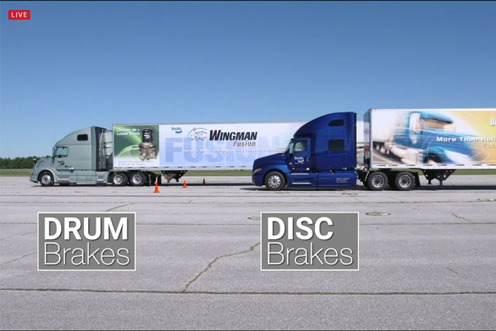 The disc brakes' reduced  stopping distance was more evident as the demonstration hit the 20th attempt. - Image: screenshot via live Bendix demo