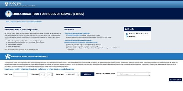 FMCSA Offers Hours-of-Service Educational Tool