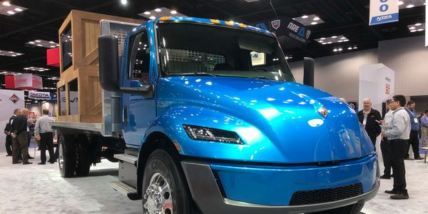 Navistar had its eMV concept electric truck on display at the Work Truck Show earlier this year.