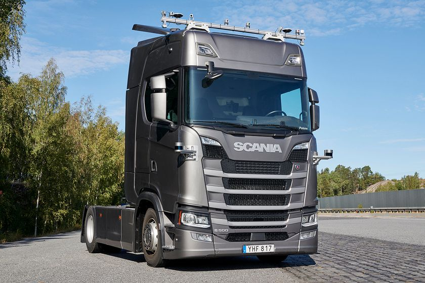 Scania S500 with 10 cameras on the roof, two corner Lidars, radar in the front and RTK (Real...