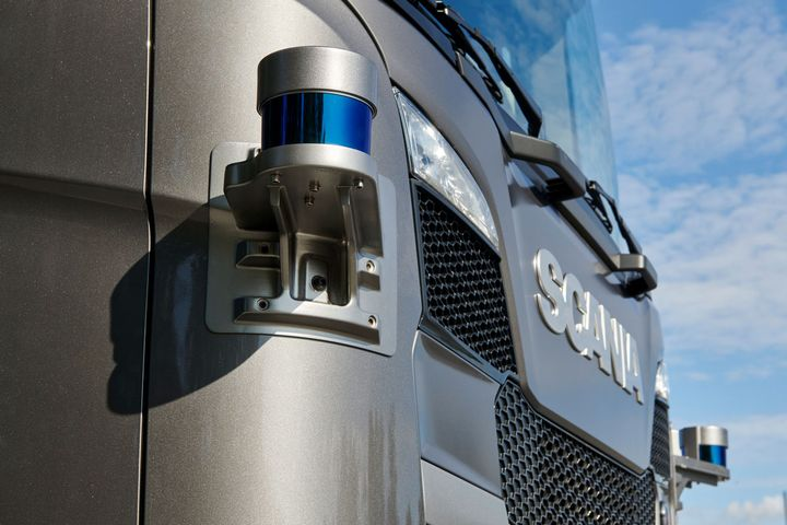 Corner Lidar installed on a Scania S500. - Photo: Traton
