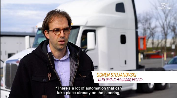 Pronto.ai is working with the Virginia Tech Transportation Institute to develop a roadmap for integrating highly automated vehicles into fleets. - Photo: Screen capture from VTTI video