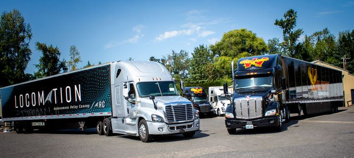In an eight-day pilot program, two Locomation trucks hauling Wilson Logistics trailers and freight were deployed as an Autonomous Relay Convoy on a 420-mile-long route from Portland, Oregon, to Nampa, Idaho. - Photo: Locomation