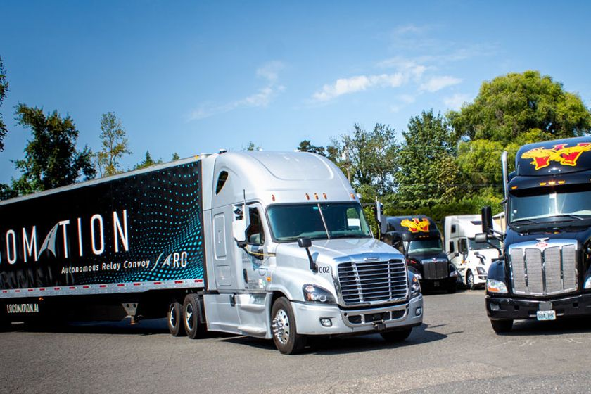 In an eight-day pilot program, two Locomation trucks hauling Wilson Logistics trailers and...