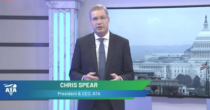 ATA's Chris Spear speaks to members during the virtual version of its annual Management Conference and Exhibition. - Photo: Screen shot of virtual event