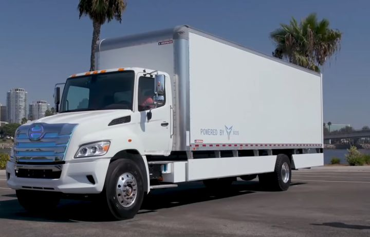 This Hino Class 8 straight truck is powered by XOs Trucks' X-Pack modular battery and electric drive system. Its expected range is about 250 miles. - Photo: HIno