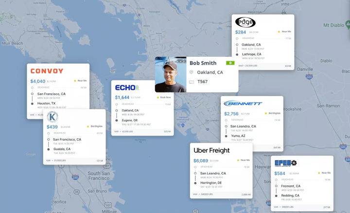 Partners such as Echo Global Logistics, Uber Freight, Edge Logistics, Bennett, EPES Logistics, Page Trucking, Keller Freight Solutions, and Parade will post thousands of loads to KeepTruckin's Smart Load Board. - Photo: Screenshot from KeepTruckin video