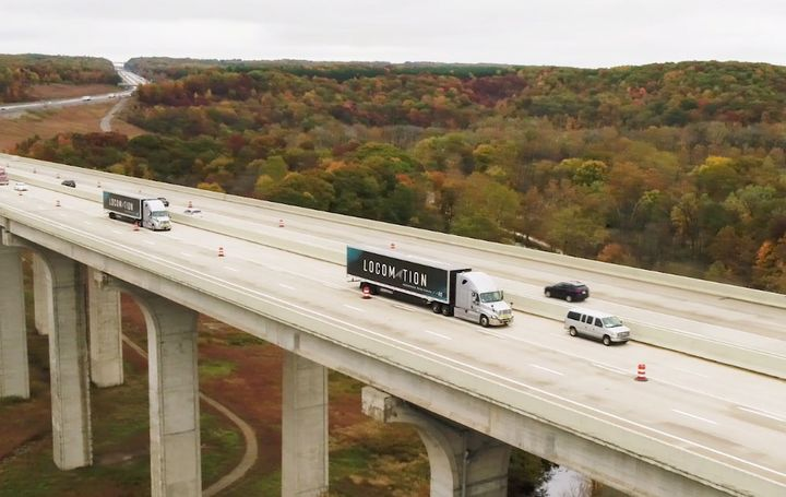 While on interstates and turnpikes, the lead truck was driven manually, while the driver of the following tractor-trailer engaged the vehicle's platooning technology. - Screen capture from DriveOhio video