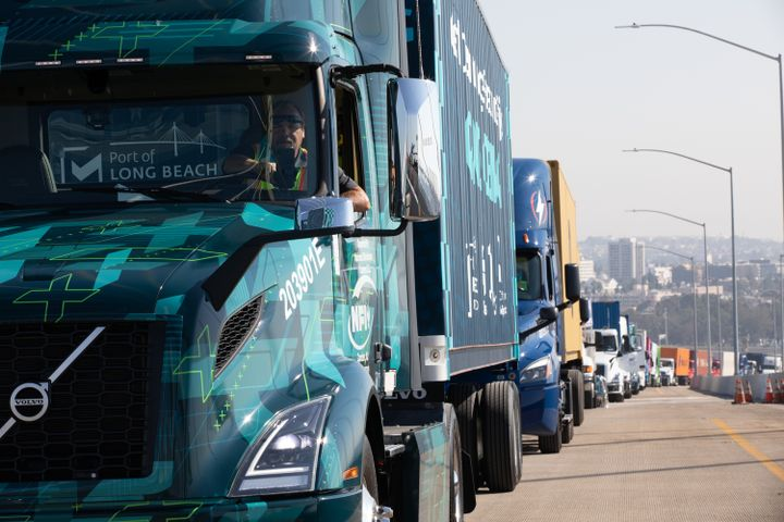 Volvo Trucks North America's Class 8 VNR Electric truck led a group of Southern California freight movement fleets in a clean truck parade on Friday, October 2 to commemorate the opening of Port of Long Beach's new cable-stayed bridge. - Photo: Volvo Trucks North America
