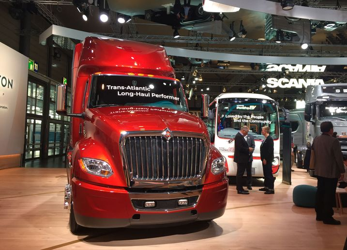 Navistar was on display at Traton's booth at the IAA Commercial Vehicle Show in Germany in 2018. - Photo: Deborah Lockridge