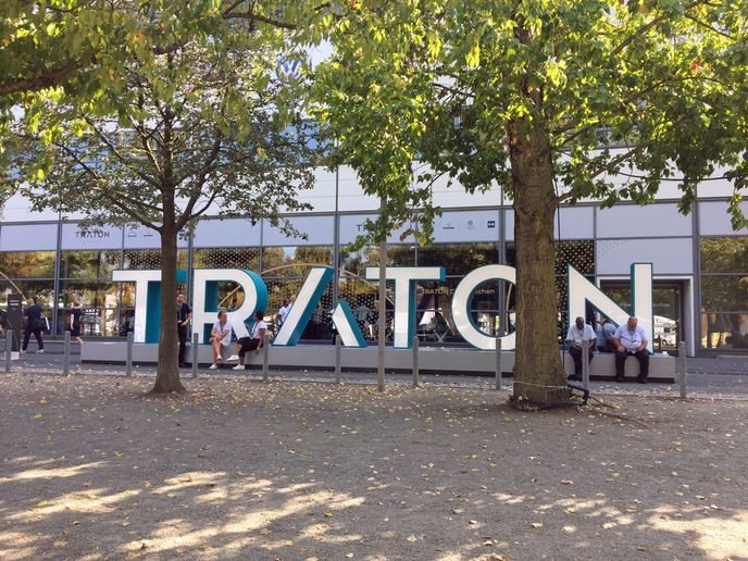 Outside Traton's hall at the IAA Commercial Vehicle show in Germany in 2018. - Photo: Deborah Lockridge