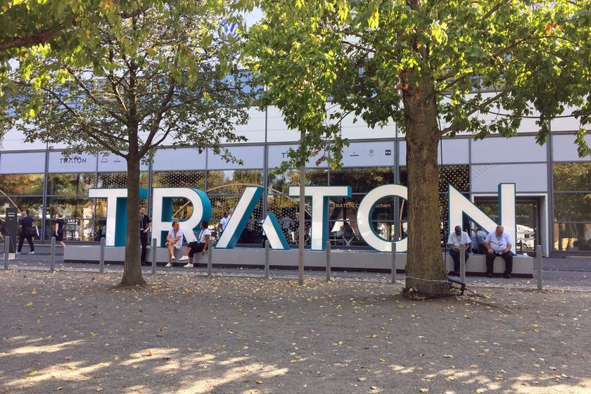 Outside Traton's hall at the IAA Commercial Vehicle show in Germany in 2018.
