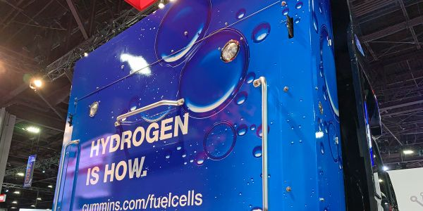 Cummins touted hydrogen fuel cell technology at its booth at the North American Commercial...