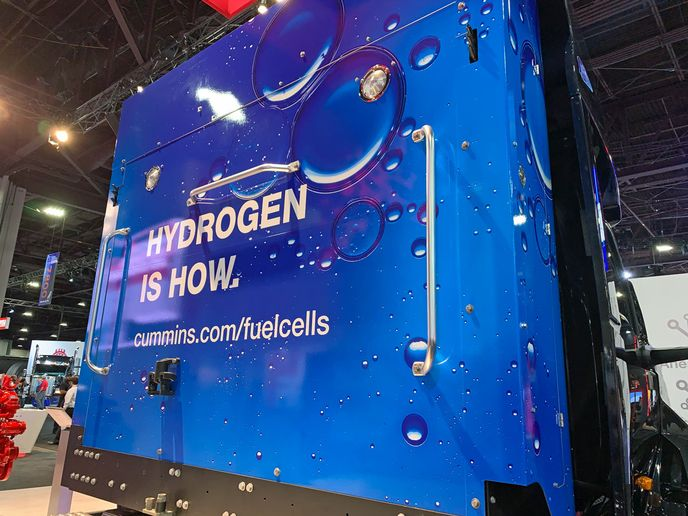 Cummins touted hydrogen fuel cell technology at its booth at the North American Commercial Vehicle Show in 2019. - Photo: Deborah Lockridge