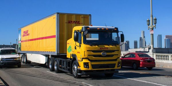 DHL Express will pilot four of these BYD battery-electric trucks in Los Angeles.